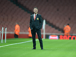 Manchester united's Manager louis van gaal inspects the Emirates pitch prior to kick off. - Photo mandatory by-line: Alex James/JMP - Mobile: 07966 386802 - 22/11/2014 - Sport - Football - London - Emirates Stadium - Arsenal v Manchester United - Barclays Premier League