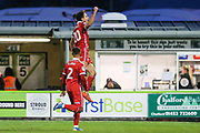 Scunthorpe United's Alex Gilliead(20) scores a goal 0-1 and celebrates during the EFL Sky Bet League 2 match between Forest Green Rovers and Scunthorpe United at the New Lawn, Forest Green, United Kingdom on 7 December 2019.