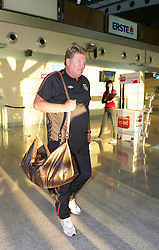 PODGORICA, MONTENEGRO- Wednesday, September 1, 2010: Wales' manager John Toshack MBE arrives at Podgorica Airport as his squad prepare for the opening UEFA Euro 2012 Qualifying Group 4 match against Montenegro. (Pic by David Rawcliffe/Propaganda)