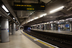 The tube station in Westminster, London.<br /> <br /> Some parts of central London are being left unusually quiet at times as consideration is given to social distancing during the COVID-19 pandemic.