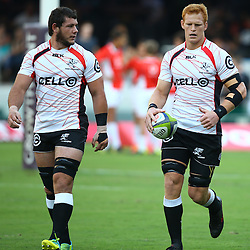 DURBAN, SOUTH AFRICA - MARCH 26: Marcell Coetzee with Philip van der Walt of the Cell C Sharks during the Super Rugby match between Cell C Sharks and BNZ Crusaders at Growthpoint Kings Park on March 26, 2016 in Durban, South Africa. (Photo by Steve Haag)<br /> <br /> images for social media must have consent from Steve Haag