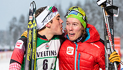 20.02.2016, Salpausselkae Stadion, Lahti, FIN, FIS Weltcup Nordische Kombination, Lahti, Team Sprint, Langlauf, im Bild v.l.: Philipp Orter (AUT), Franz-Josef Rehrl (AUT) // f.l.: Philipp Orter of Austria and Franz-Josef Rehrl of Austria celebrates during Cross Country Team Sprint Race of FIS Nordic Combined World Cup, Lahti Ski Games at the Salpausselkae Stadium in Lahti, Finland on 2016/02/20. EXPA Pictures © 2016, PhotoCredit: EXPA/ JFK