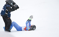 18.02.2014, Rosa Khutor Alpine Resort, Krasnaya Polyana, RUS, Sochi, 2014, Riesenslalom, Damen, 2. Durchgang, im Bild Olympiasiegerin Tina Maze (SLO) // olympic Champion Tina Maze of Slovenia reacts, the finish area during the 2nd run of ladies Giant Slalom to the Olympic Winter Games Sochi 2014 at the Rosa Khutor Alpine Resort, Krasnaya Polyana, Russia on 2014/02/18. EXPA Pictures © 2014, PhotoCredit: EXPA/ Sammy Minkoff<br /> <br /> *****ATTENTION - OUT of GER*****