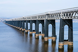 View of Tay Rail bridge crossing the River Tay at Dundee in Scotland, United Kingdom