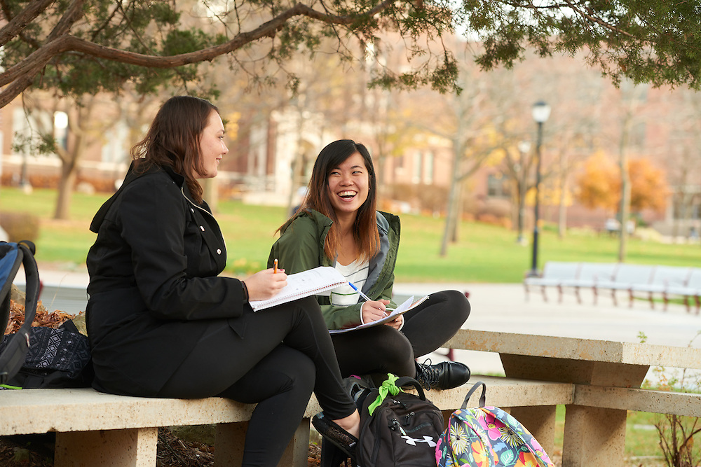 Activity; Research; Studying; Location; Outside; Objects; pen pencil marker; People; Woman Women; Student Students; Time/Weather; day; Type of Photography; Candid; UWL UW-L UW-La Crosse University of Wisconsin-La Crosse; Fall; November; Diversity