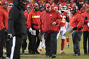 Jan 20, 2019; Kansas City, MO, USA; Kansas City Chiefs head coach Andy Reid looks on during the AFC Championship game at Arrowhead Stadium. The Patriots defeated the Chiefs 37-31 in overtime to advance to their fifth Super Bowl in eight seasons. (Robin Alam/Image of Sport)