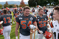 KELOWNA, BC - OCTOBER 6: Cory McCoy #54 of Okanagan Sun celebrates a touchdown on the sidelines against the VI Raiders at the Apple Bowl on October 6, 2019 in Kelowna, Canada. (Photo by Marissa Baecker/Shoot the Breeze)