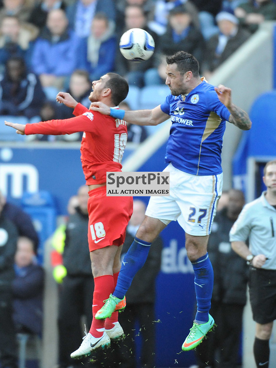 LEICESTERS MARCIN WASILEWSKI HOLDS OF CHARLTONS MARCUS TUDGAY, Leicester City v Charlrlton Athletic, Sky Bet Champ, Saturday 1st March 2014