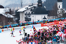 February 22, 2019 - Seefeld In Tirol, AUSTRIA - 190222 Audience in the stands watching Franz-Josef Rehrl of Austria, Jan Schmid of Norway and Eric Frenzel of Germany compete in men's nordic combined 10 km Individual Gundersen during the FIS Nordic World Ski Championships on February 22, 2019 in Seefeld in Tirol..Photo: Joel Marklund / BILDBYRÃ…N / kod JM / 87882 (Credit Image: © Joel Marklund/Bildbyran via ZUMA Press)
