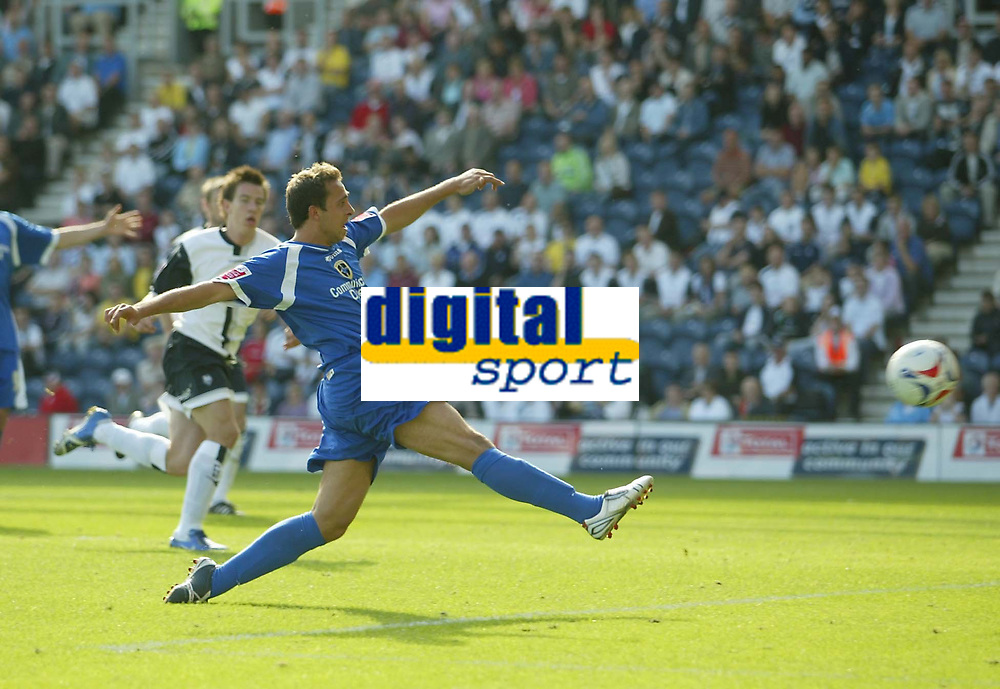 Photo: Aidan Ellis.<br /> Preston North End v Cardiff City. Coca Cola Championship. 09/09/2006.<br /> Cardiff's Michael Chopra scores the equaliser