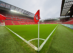 LIVERPOOL, ENGLAND - Saturday, March 9, 2019: A general view of the Anfield corner flag before the FA Premier League match between Liverpool FC and Burnley FC. (Pic by David Rawcliffe/Propaganda)