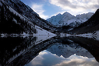 Maroon Bells Reflection in Maroon Lake in Winter, Maroon - Snowmass Wilderness, Colorado