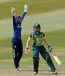 England's Sarah Taylor unsuccessfully appeals for the LBW of Australia's Alex Blackwell- Photo mandatory by-line: Harry Trump/JMP - Mobile: 07966 386802 - 21/07/15 - SPORT - CRICKET - Women's Ashes - Royal London ODI - England Women v Australia Women - The County Ground, Taunton, England.