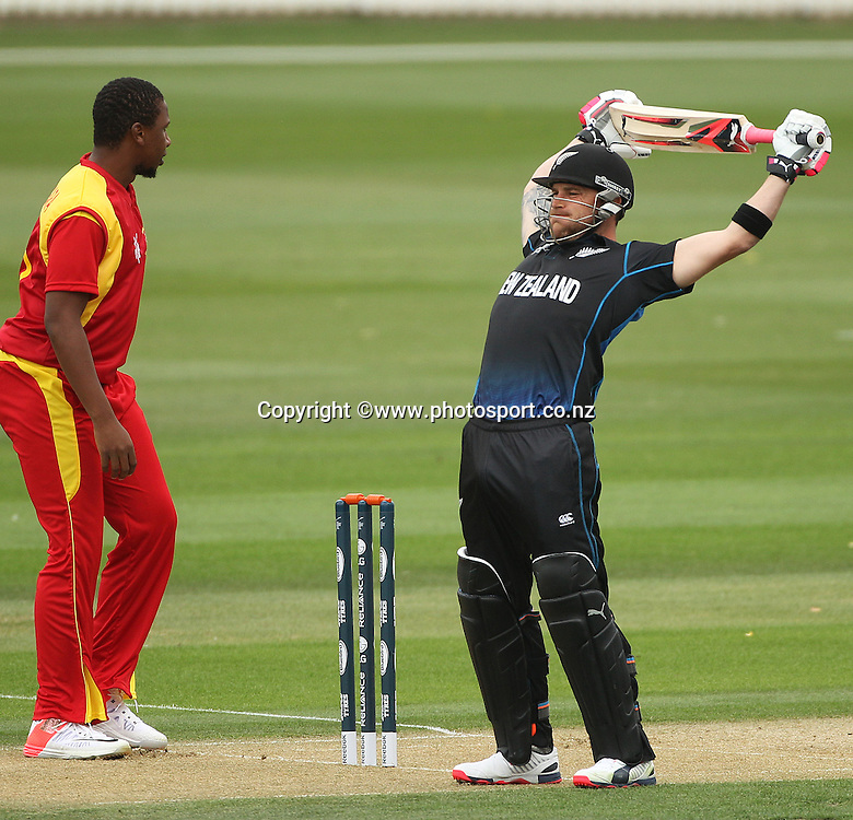 Brendon McCullum of the Black Caps warms up at the batting crease before the ICC Cricket World Cup warm up game between the Black Caps v Zimbabwe at Bert Sutcjliffe Oval, Lincoln, Christchurch. 9 February 2015 Photo: Joseph Johnson / www.photosport.co.nz
