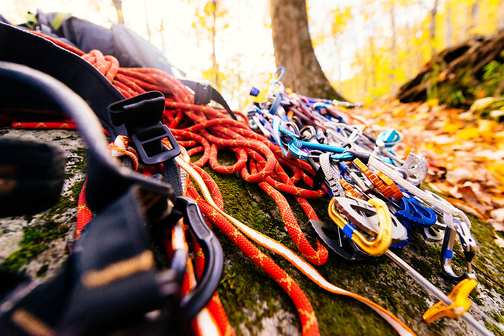 Jeff's traditional climbing gear rack pre-climb up at Chapel Pond in the Adirondacks