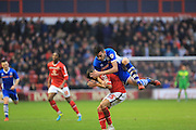 Milan Lalkovic, Matt Lund during the Sky Bet League 1 match between Walsall and Rochdale at the Banks's Stadium, Walsall, England on 2 January 2016. Photo by Daniel Youngs.