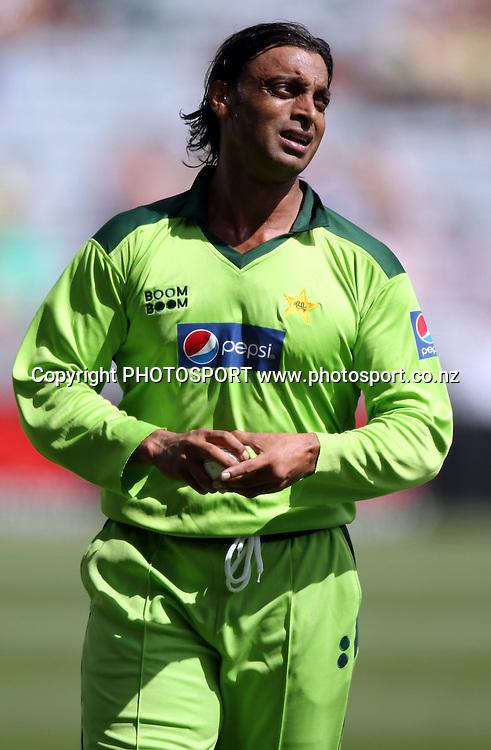 Shoaib Akhtar. Twenty20 International Cricket match between The New Zealand Black Caps and Pakistan at Eden Park on Boxing Day, Sunday 26 December 2010. Photo: Andrew Cornaga/photosport.co.nz