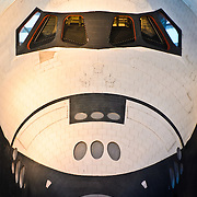 The nose and cockpit of the space shuttle Enterprise on display at the Smithsonian National Air and Space Museum's Udvar-Hazy Center, a large hangar facility at Chantilly, Virginia, next to Dulles Airport and just outside Washington DC.