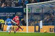 Birmingham City Midfielder David Davis scores a goal 0-1 during the EFL Sky Bet Championship match between Sheffield Wednesday and Birmingham City at Hillsborough, Sheffield, England on 3 February 2018. Picture by Craig Zadoroznyj.