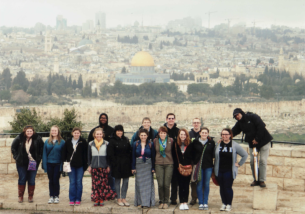 Class, &quot;Encounters in the Holy Land,&quot; overlooking Jerusalem.<br /> FYI, those in the picture (L to R):  Melody Elkins, Heidi Binder, Shelby Riley, Danielle Slowik, Xavier Scott-Reed, Rebecca Tallent (mother of student participant), Rachel Tallent, Carolyn Heider (wife of instructor), Deborah Metcalf, George Heider (instructor), Emily Kunkle, Karl Anliker, Lindsay Roettger, Miranda Joebgen, Tanas Baddour (guide).