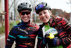 Alice Barnes (GBR) and Lisa Klein (GER) pose for a photo after Healthy Ageing Tour 2019 - Stage 3, a 124 km road race starting and finishing in Musselkanaal, Netherlands on April 12, 2019. Photo by Sean Robinson/velofocus.com