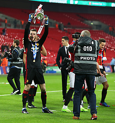 David De Gea of Manchester United celebrates with the EFL Trophy  - Mandatory by-line: Matt McNulty/JMP - 26/02/2017 - FOOTBALL - Wembley Stadium - London, England - Manchester United v Southampton - EFL Cup Final