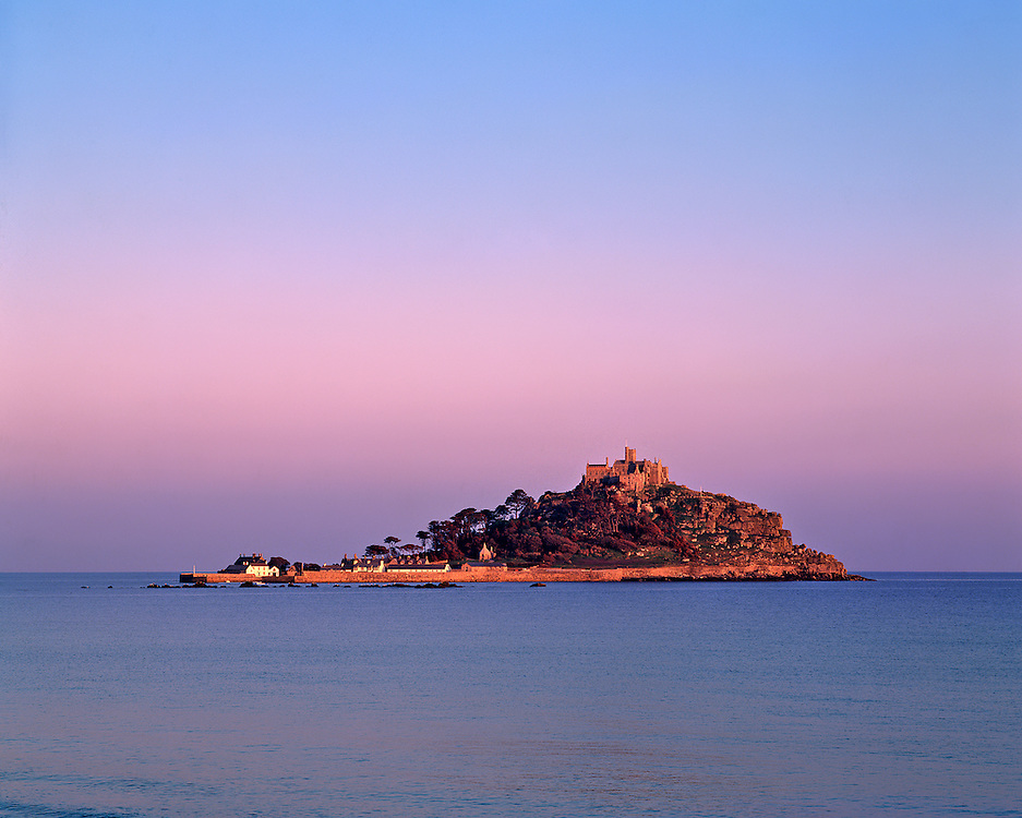 St. Michael's Mount rises 200 feet in Mounts Bay, Cornwall, England.