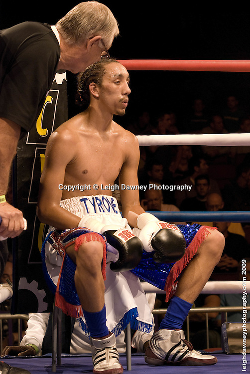 Tyrone Nurse in his corner facing Daniel Thorpe at the Brentwood Centre UK on 11th September 2009 Promoter Frank Maloney. Credit: ©Leigh Dawney Photography