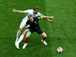 July 11, 2018 - Moscow, Russia - July 11, 2018, Moscow, FIFA World Cup 2018 Football, the playoff round. 1/2 finals of the World Cup. Football match Croatia - England at the stadium Luzhniki. Player of the national team Harry Kane (9), Ivan Strinich  (Credit Image: © Russian Look via ZUMA Wire)