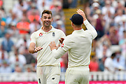 Wicket - James Anderson of England celebrates taking the wicket of Mohammed Shami of India with Jos Buttler of England during second day of the Specsavers International Test Match 2018 match between England and India at Edgbaston, Birmingham, United Kingdom on 2 August 2018. Picture by Graham Hunt.