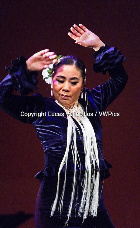 Flamenco dancer. Eiko Sasaki is a  Kayoko Nakata student. Dancing for the first time in a theater. In Morioka theatre.Morioka,Iwate prefecture,Japan.