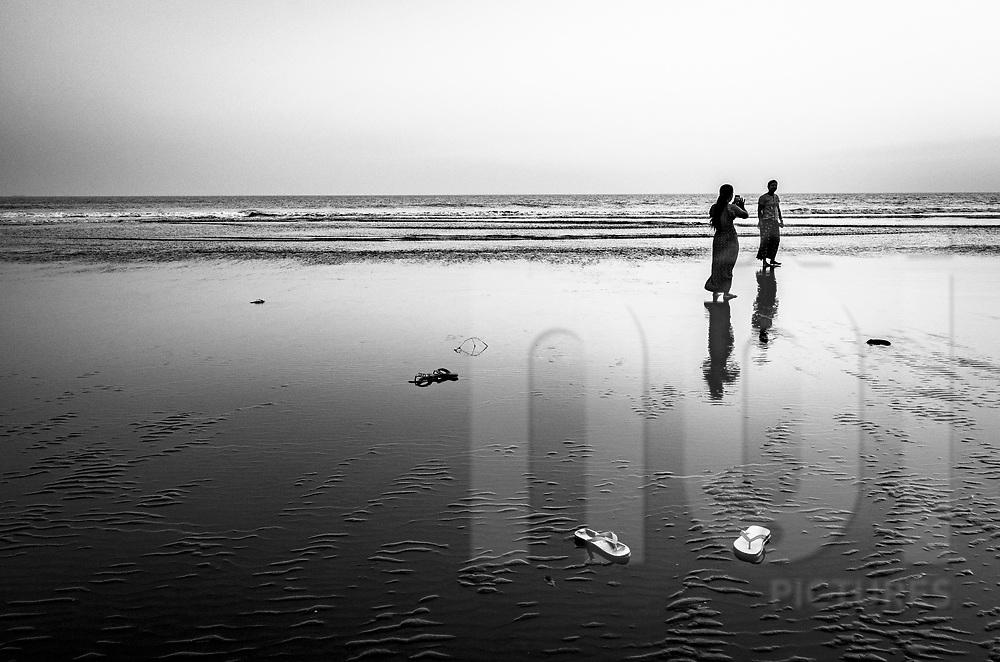 Leisure time on a beach of Sittwe, Rakhine State, Myanmar, Asia