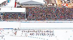 18.02.2017, Biathlonarena, Hochfilzen, AUT, IBU Weltmeisterschaften Biathlon, Hochfilzen 2017, Staffel Herren, im Bild Luftaufnahme des Tüpl Hochfilzen und des Biathlon Stadions mit Zuschauern auf den Tribünen mit Fahnen // Aerial view of the Militäry Base Hochfilzen and the Biathlon Stadium with spectators on the stands with flags during men's Relay of the IBU Biathlon World Championships at the Biathlonarena in Hochfilzen, Austria on 2017/02/18. EXPA Pictures © 2017, PhotoCredit: EXPA/ JFK