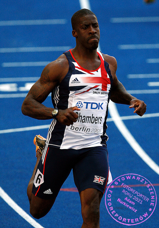 BERLIN 15/08/2009.12th IAAF World Championships in Athletics Berlin 2009.100 Metres Men - 1st Round.Dwain Chambers of Great Britain ..Phot: Piotr Hawalej / WROFOTO