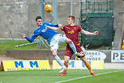 Scott Tanser (#3) of St Johnstone FC and Danny Johnson (#24) of Motherwell FC tussle for the ball in the box during the Ladbrokes Scottish Premiership match between St Johnstone and Motherwell at McDiarmid Stadium, Perth, Scotland on 11 May 2019.