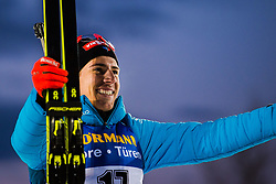March 9, 2019 - –Stersund, Sweden - 190309 Quentin Fillon Maillet of France celebrates his third place at the podium after the Men's 10 KM sprint during the IBU World Championships Biathlon on March 9, 2019 in Östersund..Photo: Petter Arvidson / BILDBYRÃ…N / kod PA / 92252 (Credit Image: © Petter Arvidson/Bildbyran via ZUMA Press)