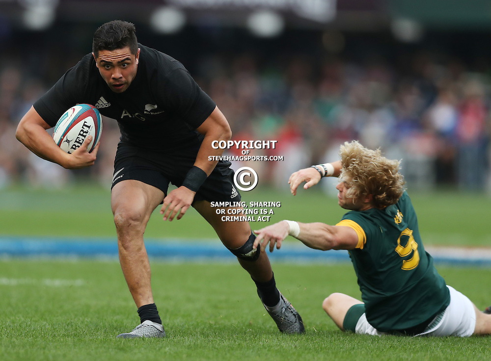 DURBAN, SOUTH AFRICA, 8 October, 2016 -Anton Lienert-Brown of New Zealand is tackled by Faf de Klerk of South Africa during the Rugby Championship match between South Africa and New Zealand at Kings Park in Durban, South Africa. (Photo by Steve Haag)