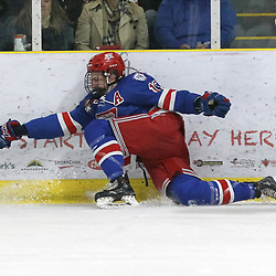 COCHRANE, ON - MAY 4: Jack Ricketts #15 of the Oakville Blades reaches after the puck during the first period on May 4, 2019 at Tim Horton Events Centre in Cochrane, Ontario, Canada.<br /> (Photo by Tim Bates / OJHL Images)
