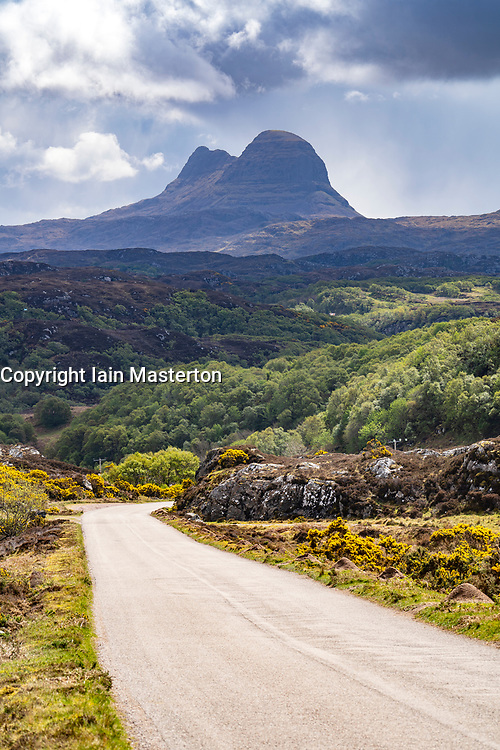 Suilven mountain in Inverpolly and  the North Coast 500 scenic driving route in northern Scotland, UK