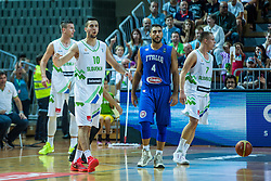 Mitja Nikolic and Klemen Prepelic of Slovenia and Peitro Aradori of Italy during friendly basketball match between National teams of Slovenia and Italy at day 3 of Adecco Cup 2015, on August 23 in Koper, Slovenia. Photo by Grega Valancic / Sportida