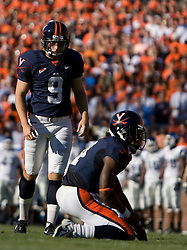 Virginia kicker Chris Gould (9)..The Virginia Cavaliers defeated the Connecticut Huskies 17-16 at Scott Stadium in Charlottesville, VA on October 13, 2007