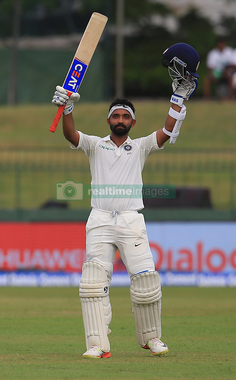 August 3, 2017 - Colombo, Sri Lanka - Indian cricketer Ajinkya Rahane celebrates after scoring 100 runs during the 1st Day's play in the 2nd Test match between Sri Lanka and India at the SSC international cricket stadium at the capital city of Colombo, Sri Lanka on Thursday 03 August 2017. (Credit Image: © Tharaka Basnayaka/NurPhoto via ZUMA Press)