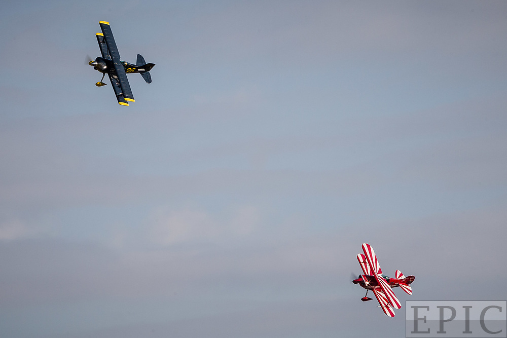 RENO, NV - SEPTEMBER 15: Racers in the biplane category round a corner at the Reno Championship Air Races on September 15, 2017 in Reno, Nevada. (Photo by Jonathan Devich/Getty Images) *** Local Caption ***
