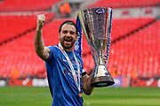 Brett Pitman of Portsmouth celebrates winning the Checkatrade EFL Trophy during the EFL Trophy Final match between Portsmouth and Sunderland at Wembley Stadium, London, England on 31 March 2019.