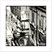 Night Scene, Paris, France - Monochrome version. Inkjet pigment print on Canson Infinity Rag Photographique 310gsm 100% cotton museum grade Fine Art and photo paper.<br />
