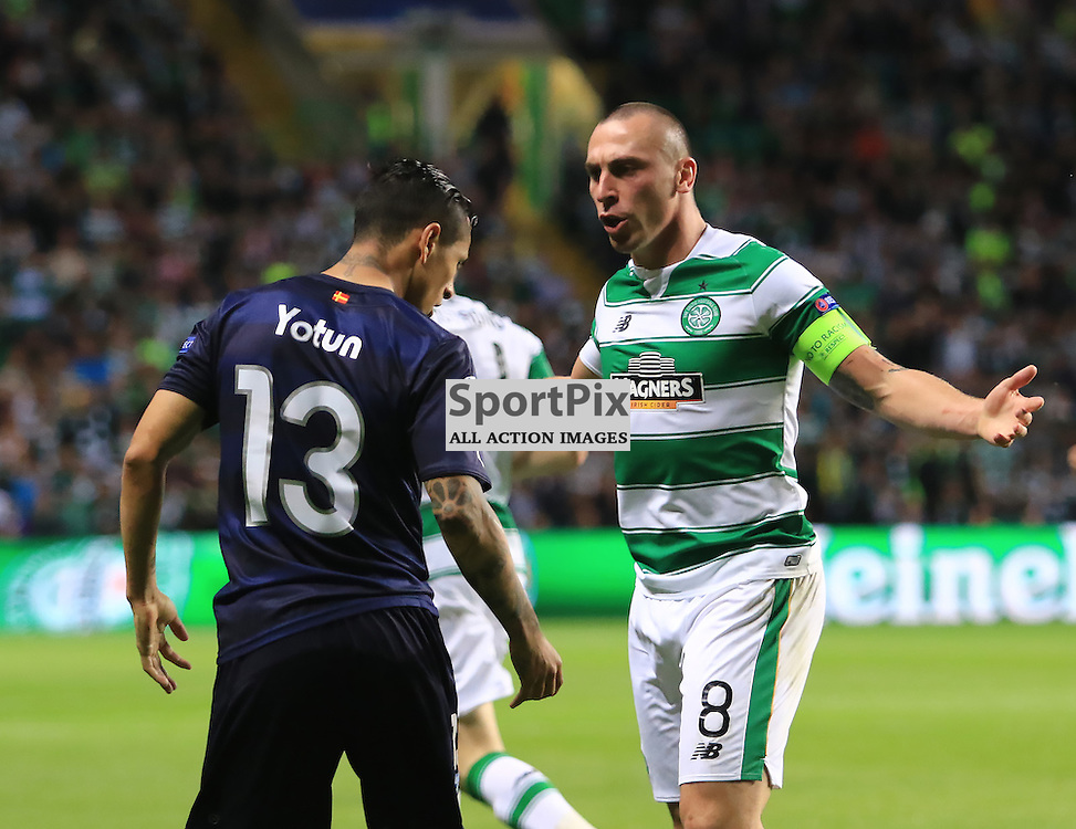 Celtic's Scott Brown has an argument with Malmö FF Victor Yotun during the Glasgow Celtic FC v Malmö FF Champions League Play-Off  19th August 2015 ©Edward Linton | SportPix.org.uk