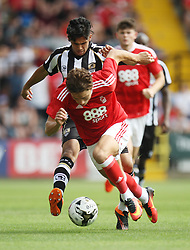 Matty Cash of Nottingham Forest (R) and a trialist for Notts County in action - Mandatory by-line: Jack Phillips/JMP - 23/07/2016 - FOOTBALL - Meadow Lane Stadium - Nottingham, England - Notts County v Nottingham Forest - Mike Edwards Testimonial Pre-Season Friendly