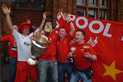 CARDIFF, WALES - SATURDAY, MAY 13th, 2006: Liverpool's fans in Cardiff before the FA Cup Final against West Ham United at the Millennium Stadium. (Pic by Jason Roberts/Propaganda)
