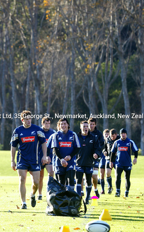 The All Blacks, lead by Richard McCaw and Byron Kelleher, arrive for training, 07 June 2004 in Dunedin, prior to the Test match against England on Saturday.<br />