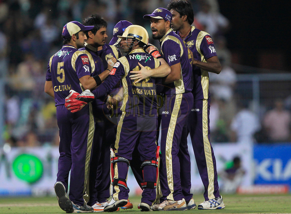 Shreevats Goswami of Kolkata Knight Riders wicketkeeper celebrates with teammates the dismissal of Kings XI Punjab Abhishek Nayar during match 37 of the Indian Premier League ( IPL ) between the Kolkata Knight Riders and the Royal Kings XI Punjab held at Eden Gardens Cricket Stadium in Kolkata, India on the 30th April 2011..Photo by Pankaj Nangia/BCCI/SPORTZPICS.